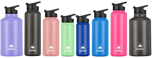 Gold Armour GulpBliss Water Bottle - Water Bottle Straw & Wide Mouth Lids - Wide Mouth Vacuum Insulated 18/8 Stainless...