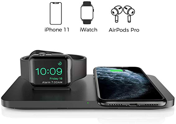 Seneo 2 in 1 Dual Wireless Charging Pad with iWatch Stand for iPhone/AirPods Pro/iWatch 5/4/3, 7.5W Qi Wireless Charger...