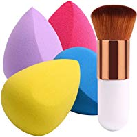 BEAKEY 4+1Pcs Makeup Sponges with Powder Brush, Foundation Blending Sponge for Liquid Cream and Powder, Professional...