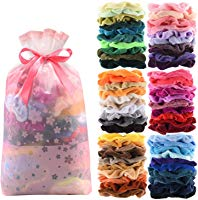 60 Pcs Premium Velvet Hair Scrunchies Hair Bands for Women or Girls Hair Accessories with Gift Bag,Great Gift fo Holiday...