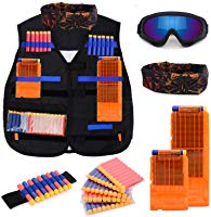 Kids Tactical Vest Kit for Nerf N-strike Elite Series with 50 Bullets Refill Darts + 2 Reload Clips + Face Tube Mask +...